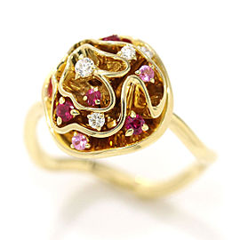 Louis Vuitton 18K Yellow Gold Ruby, Sapphire & Diamond Ring Size 5.5