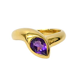 Bulgari 750 Yellow Gold with Amethyst Band Ring Size 2.5
