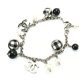 Chanel Silver Tone Simulated Glass Pearl Bracelet