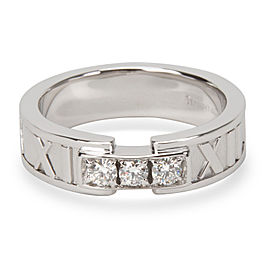 Tiffany & Co. Atlas 18K White Gold Diamond Ring Size 5.25