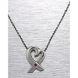 """Tiffany & Co. Sterling Paloma Picasso Pink Sapphire Loving Heart 16.00"""" Necklace"""