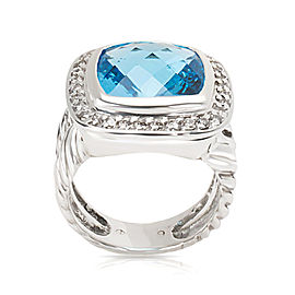 David Yurman Albion Sterling Silver Topaz, Diamond Ring Size 4