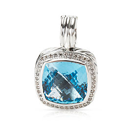 David Yurman Albion Sterling Silver Blue Topaz and Diamond Pendant