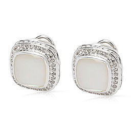 David Yurman Albion Sterling Silver Mother Of Pearl and Diamond Earrings