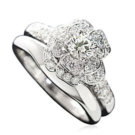 Chanel Camelia 18K White Gold Diamond Ring Set Size 9