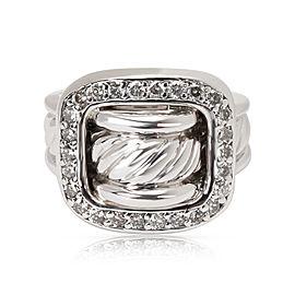 David Yurman Cable Sterling Silver Diamond Ring Size 6.75