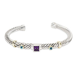 David Yurman Cable Bangle with Amethyst & Blue Topaz in Sterling Silver & Gold