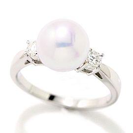 Mikimoto Platinum Cultured Akoya Pearl, Diamond Ring Size 6