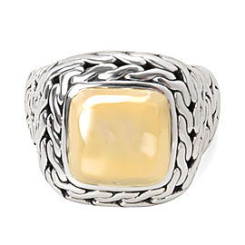 John Hardy Classic Chain Ring 22K Yellow Gold & Sterling Silver Size 4.75