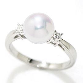 Mikimoto Platinum Akoya Cultured Pearl Diamond Ring Size 6