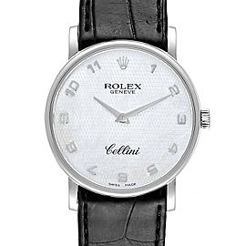 Rolex Cellini Classic White Gold MOP Dial Black Strap Mens Watch 5115