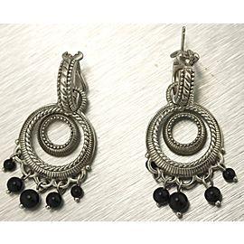Judith Ripka 925 Sterling Silver Black Onyx Bead Dangle Chandelier Earrings