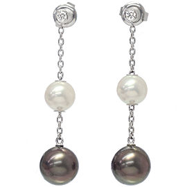 Mikimoto 18k White Gold Cultured Black Pearl and Diamond Earrings