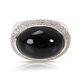 David Yurman Sterling Silver Onyx Diamond Ring Size 6