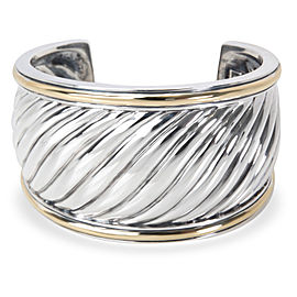 David Yurman Sterling Silver & 18K Yellow Gold Wide Sculpted Cable Cuff Bracelet
