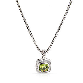 David Yurman Sterling Silver with Prasiolite & 0.20ctw Diamond Pendant Necklace