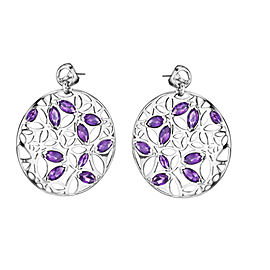Di Modolo Purple Quartz Drop Earrings in Plated Rhodium MSRP 795