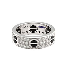Cartier 263959798353-E 18K White Gold Ceramic Diamond Rings Size 53