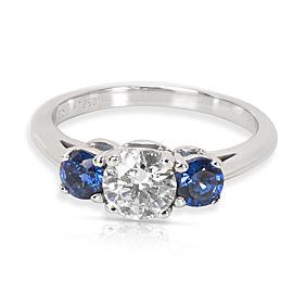 Tiffany & Co. Three Stone Diamond & Sapphire Platinum Ring Size 6
