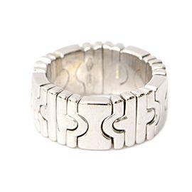 Bulgari 18K White Gold Parentesi Band Ring Size 4.5