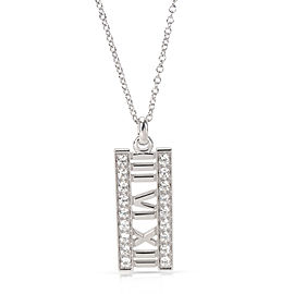 Tiffany & Co. Open Atlas Diamond Pendant Necklace in 18K White Gold 0.20ctw.