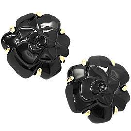 Chanel Camelia 18K Yellow Gold Onyx Earrings