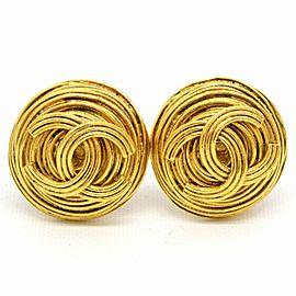 Chanel Gold Tone Metal Vintage CC Ear Clip Earrings
