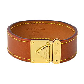 Louis Vuitton Gold Tone Metal Leather Koala Bangle Bracelet