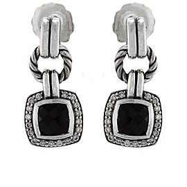 David Yurman Sterling Silver Onyx, Diamond Earrings