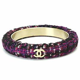 Chanel Gold Tone Tweed Bangle Bracelet