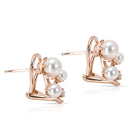 Mikimoto 18K Rose Gold Diamond, Cultured Pearl Earrings