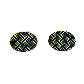 Tiffany & Co. 18K Yellow Gold Enamel Cufflinks