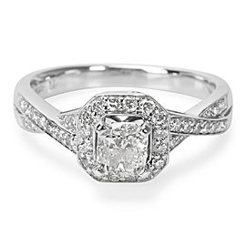 GSI Certified Cushion Diamond Engagement Ring in 14KT White Gold 1.00 ctw