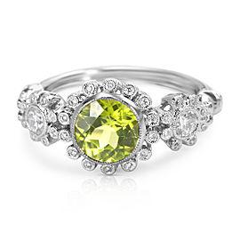 Halo Diamond & Peridot Ring in 14KT White Gold 1.68 ctw
