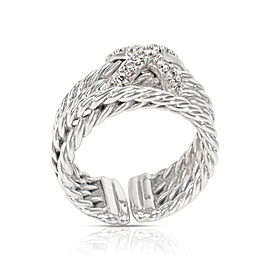 David Yurman Sterling Silver Diamond Ring Size 6