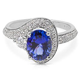 De Hago Diamond Halo Tanzanite Ring in 14K White Gold (2.58 CTW)