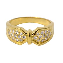 Christian Dior 18K Yellow Gold Diamond Ring Size 6.0