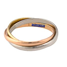Cartier 18K 750 White, Yellow, & Pink Gold Trinity Rolling Band Ring Size: 51