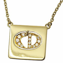 Christian Dior Logo 18K Yellow Gold Diamond Necklace