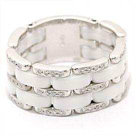 Chanel Ultra 18k White Gold Ceramic Diamond Ring Size 11.75