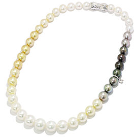Mikimoto 18K White Gold Cultured Ayoka & South Sea Pearl Necklace