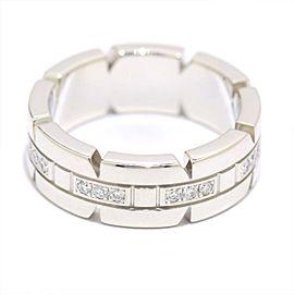 Cartier Tank Francaise Half Diamond Ring 18k White Gold Size 4
