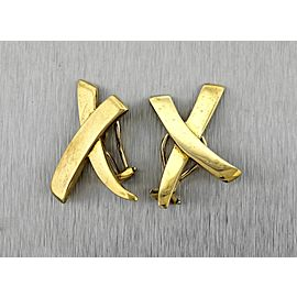 Tiffany & Co. Paloma Picasso 18K Yellow Gold X Kiss Clip-On Earrings