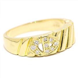 Christian Dior Logo Diamond Ring 18k Yellow Gold Size 6.25