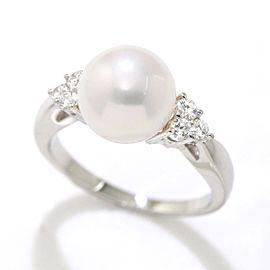 Mikimoto Platinum Cultured Pearl Diamond Ring Size 4.5