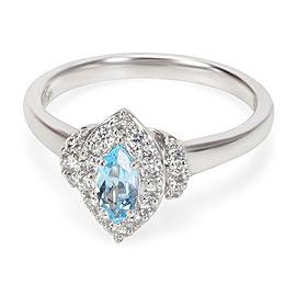 14K White Gold Diamond, Topaz Ring Size 6.25