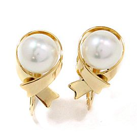 Mikimoto 18K Yellow Gold Cultured Pearl Earrings