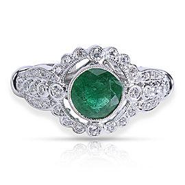 18K White Gold Diamond, Emerald Ring Size 6.25