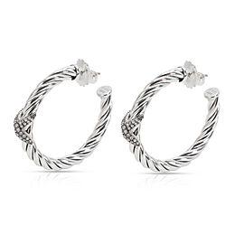 David Yurman Cable Diamond X Hoop Earring in Sterling Silver 0.33 CTW