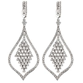 14K White Gold 3.80Ctw Diamond Chandelier Earrings